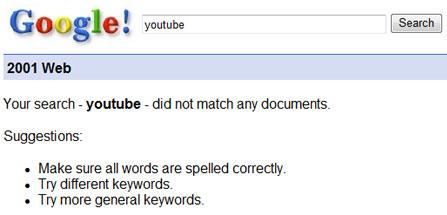 Suche nach Youtube im Jahr 2001