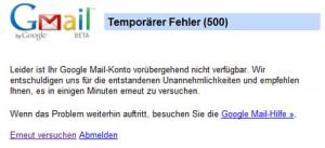 Gmail Fehlermeldung