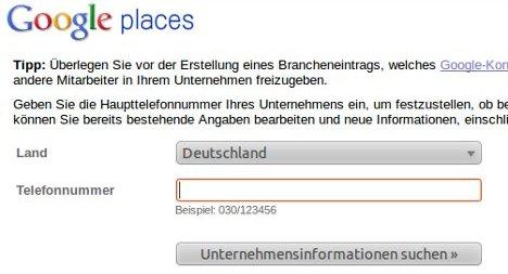 Firma bei Google Places eintragen