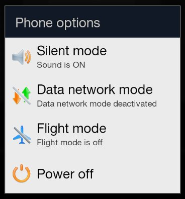 Samsung Galaxy: Flugmodus bzw. Flight mode