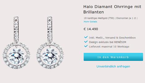Diamantohrringe für 14.490 Euro