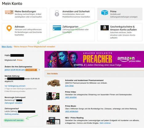 Amazon Prime Mitgliedschaft beenden